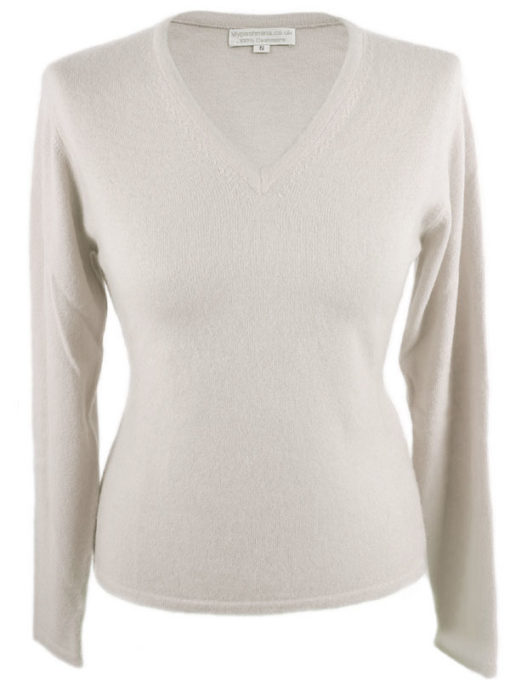 Ladies Fitted V-Neck - Medium - 100% Cashmere - White