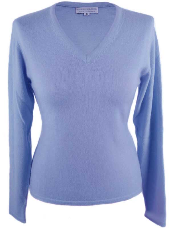 Ladies Fitted V-Neck - Large - 100% Cashmere - Pastel Blue