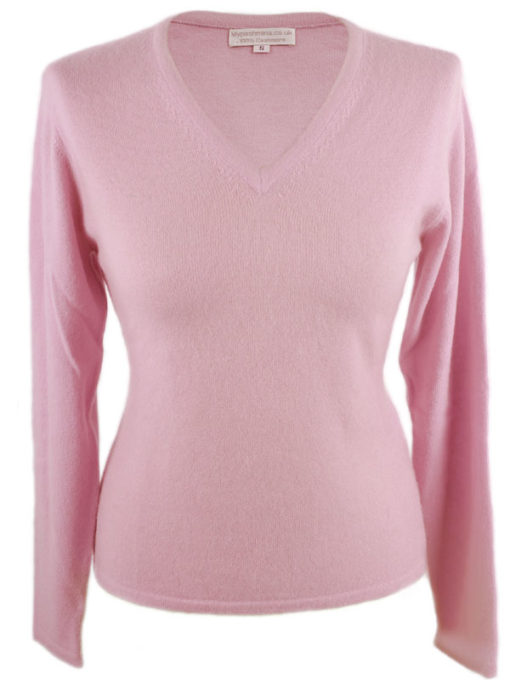 Ladies Fitted V-Neck - XL - 100% Cashmere - Baby Pink