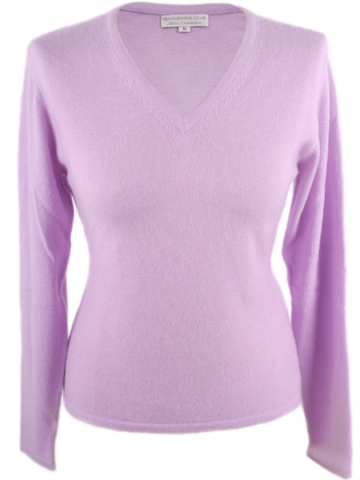 Ladies Fitted V-Neck - XL - 100% Cashmere - Lavender