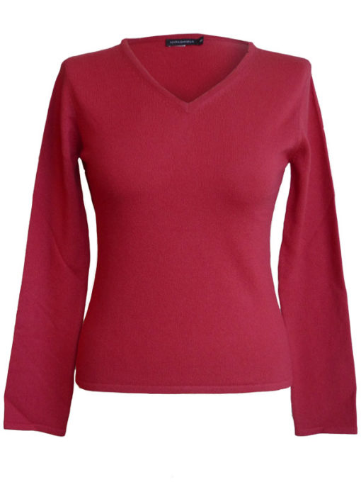Ladies Fitted V-Neck - XL - 100% Cashmere - Raspberry Wine