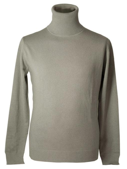 Mens Classic Polo Neck - 100% Cashmere - Small - Cinder