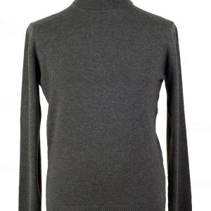 Mens Classic Polo Neck - 100% Cashmere - Medium - Melange Dark Grey