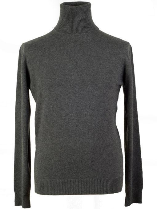 Mens Classic Polo Neck - 100% Cashmere - Medium - Melange Dark Grey