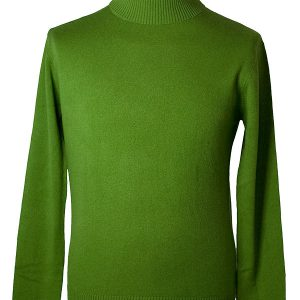 Mens Classic Polo Neck - 100% Cashmere - Large - Willow Bough