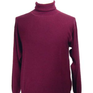 Mens Classic Polo Neck - 100% Cashmere - XXL - Ruby Wine