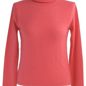 Ladies Polo Neck - Medium - 100% Cashmere - Rose Of Sharon