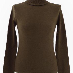 Ladies Polo Neck - Large - 100% Cashmere - Sepia