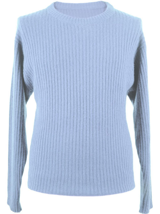 Mens 2x2 Ribbed 4ply Round-Neck - Medium - 100% Cashmere - Baby Blue