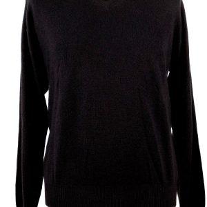Mens Contemporary V-Neck - 100% Cashmere - Small - Black