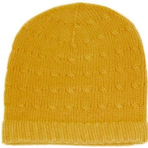 4ply Cabled Hat - 100% Cashmere - Childrens - Saffron mp48