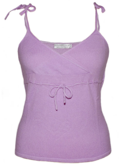Ladies Vest Top - 100% Cashmere - XS - Lavender