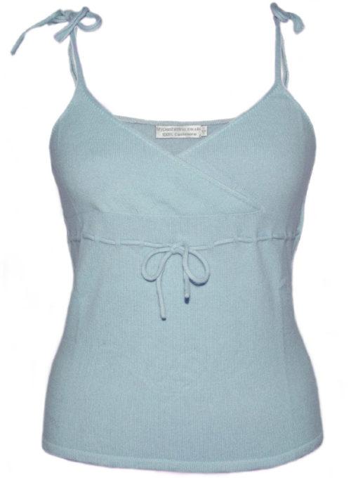 Ladies Vest Top - 100% Cashmere - Large - Baby Blue