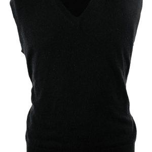Mens Classic Slipover - 100% Cashmere - Medium - Black