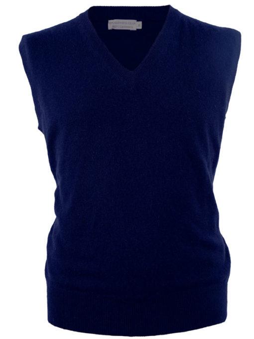 Mens Classic Slipover - 100% Cashmere - Medium - Navy Blue