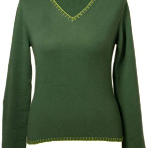 Ladies V-Neck With Overstiched Edges - 100% Cashmere - Medium - Duck Green mp83 / Woodbine mp86