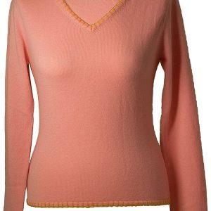 Ladies V-Neck With Overstiched Edges - 100% Cashmere - Medium - Quartz Pink mp38 / Apricot mp18