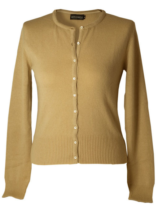 Ladies Roundneck Cardigan With Satin Trim And Pearl Buttons - 100% Cashmere - Small - Candied Ginger