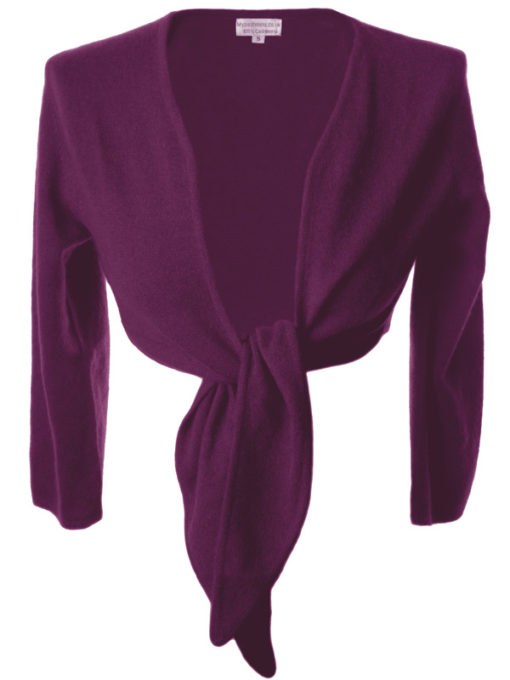 Ladies Front Tie Cardigan - 100% Cashmere - Medium - Concord Grape