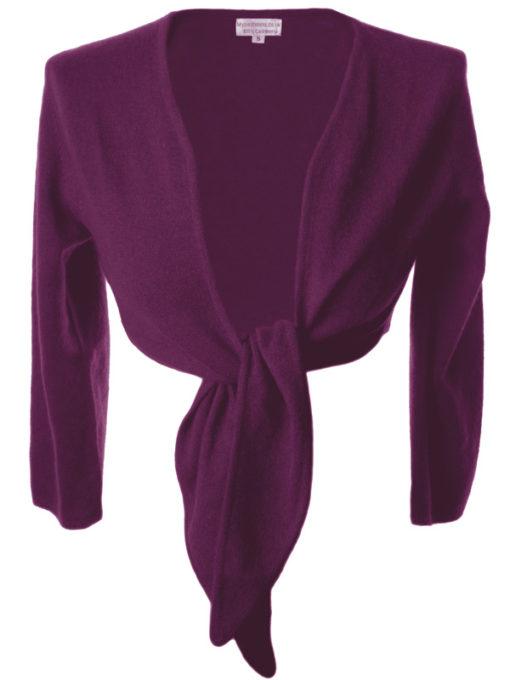 Ladies Front Tie Cardigan - 100% Cashmere - Small - Concord Grape