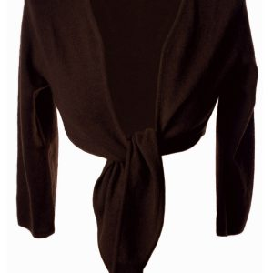 Ladies Front Tie Cardigan - 100% Cashmere - Medium - Rich Chocolate