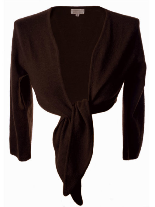 Ladies Front Tie Cardigan - 100% Cashmere - Medium - Rich Chocolate