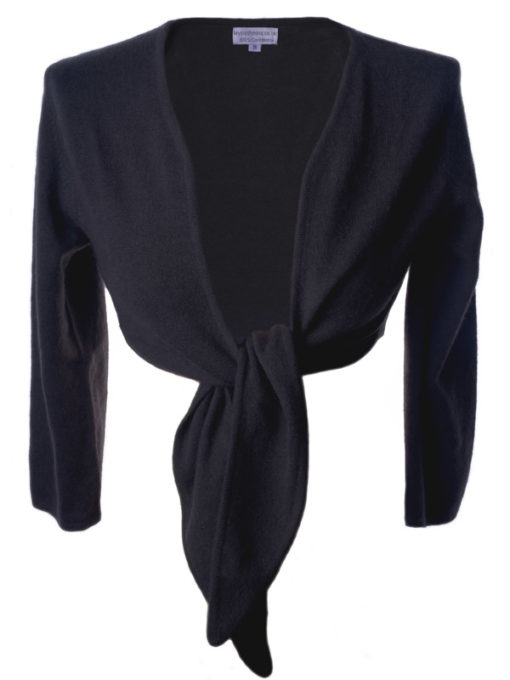 Ladies Front Tie Cardigan - 100% Cashmere - Large - Charcoal