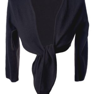 Ladies Front Tie Cardigan - 100% Cashmere - Medium - Charcoal