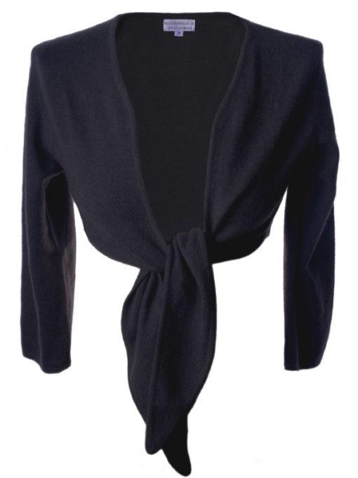 Ladies Front Tie Cardigan - 100% Cashmere - Medium - Charcoal