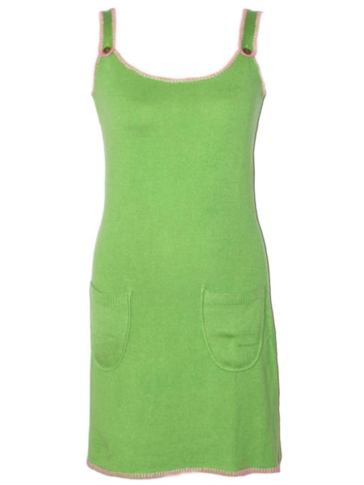 Ladies Dungaree Dress - 100% Cashmere - Small - Forest Green / Hot Pink mp409