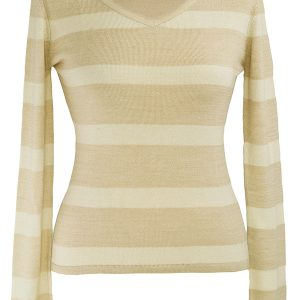 Ladies Stripey V-Neck - 80% Bamboo / 20% Cashmere - Mink/White - Small