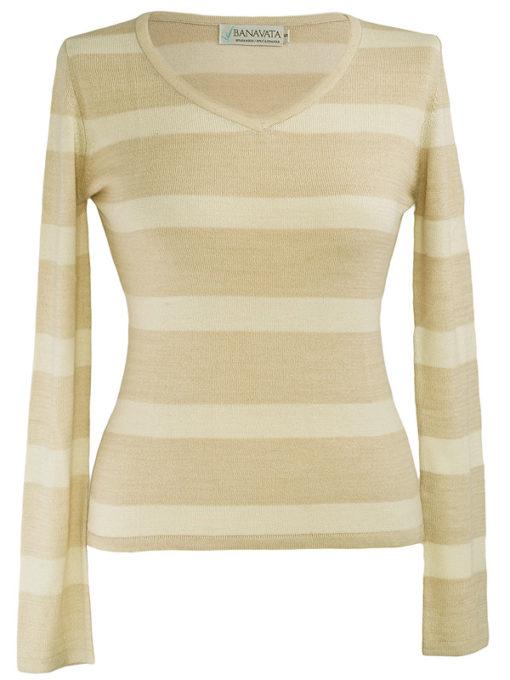 Ladies Stripey V-Neck - 80% Bamboo / 20% Cashmere - Mink/White - Small