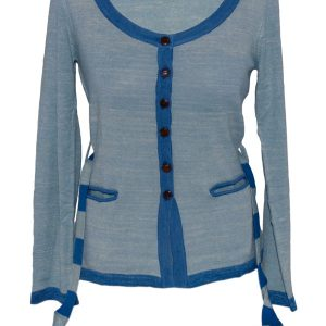Ladies Scoopneck Cardigan - 80% Bamboo/20% Cashmere - Oil Blue/Dark Blue - Small