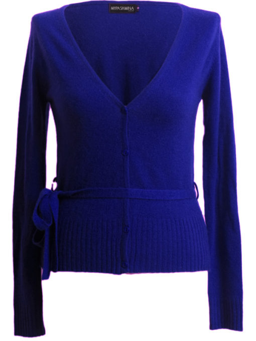Ladies Button Up Deep V-Neck - Small - 50% Cashmere / 50% Silk - Blue