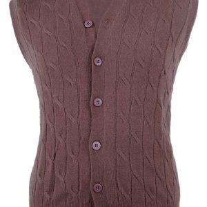 Mens Cabled Button Vest - 100% Cashmere - XXL - Pepper Corn