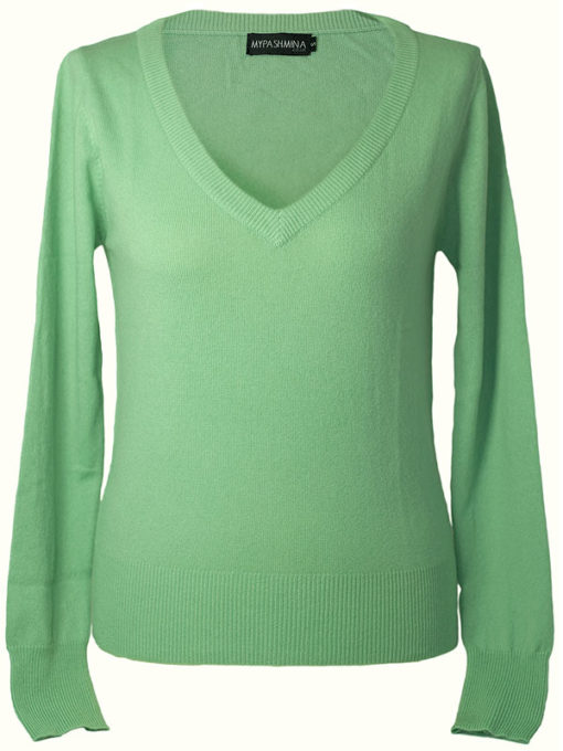 Ladies Relaxed Deep V-Neck - 100% Cashmere - Medium - Peapod
