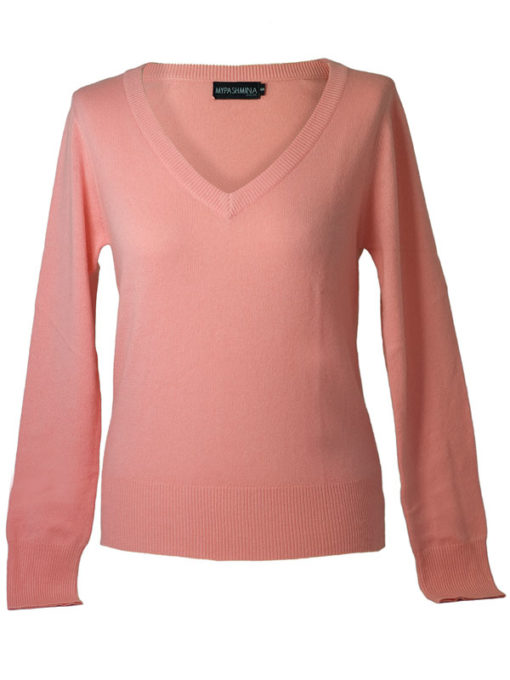 Ladies Relaxed Deep V-Neck - 100% Cashmere - Large - Peach Blossom