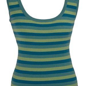 Ladies Vest Top - 100% Cashmere - Medium - Basil/Oil Blue/Aqua Blue