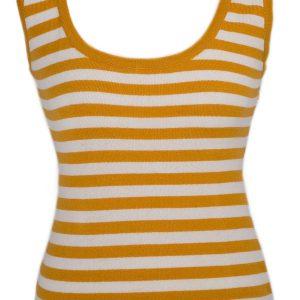 Ladies Vest Top - 100% Cashmere - Medium - Citrus/Natural White