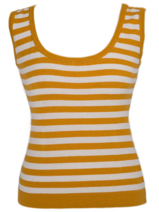 Ladies Vest Top - 100% Cashmere - Medium - Citrus/Natural White