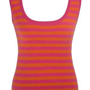 Ladies Vest Top - 100% Cashmere - XL - Chilli/Carmine