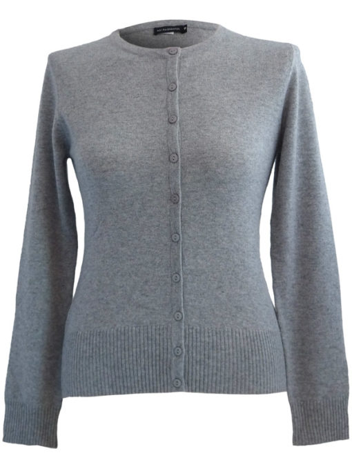 Ladies O Neck Cardigan - 100% Cashmere - Large - Melange Light Grey
