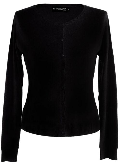 Ladies O Neck Cardigan - 100% Cashmere - Medium - Black
