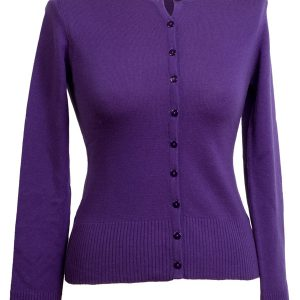 Ladies O Neck Cardigan - 100% Cashmere - Large - Royal Purple