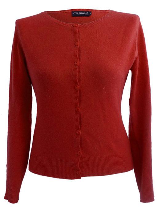 Ladies O Neck Cardigan - 100% Cashmere - XL - Poppy Red