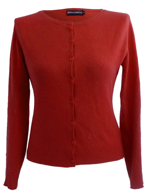 Ladies O Neck Cardigan - 100% Cashmere - Large - Poppy Red