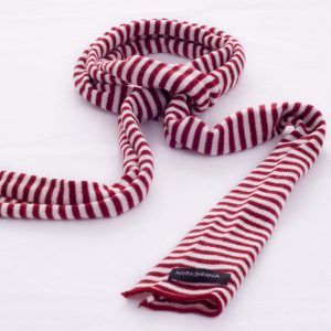 Thin Knitted Scarf - 100% Cashmere - 15x180cm - Rich Red/White