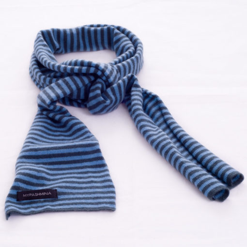 Thin Knitted Scarf - 100% Cashmere - 15x180cm - Green Gable / Adriatic Blue