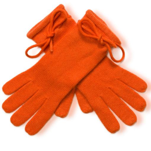 Ladies Cashmere Gloves With Wrist Tie - Harvest Pumpkin mp19