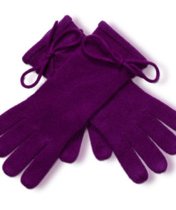 Ladies Cashmere Gloves With Wrist Tie - Grape Royale mp52